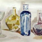 bottiglie con bicchiere