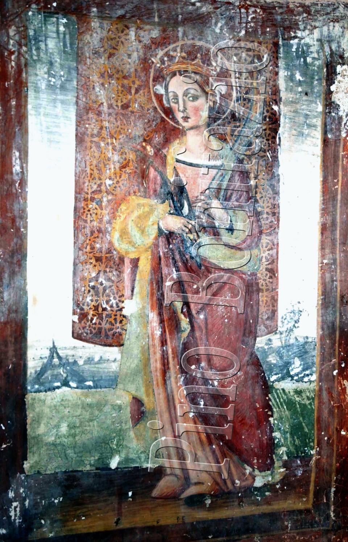 Chiesa di S.Lucia nel borgo  S. Lucia di Isola del Gran Sasso (TE) . S. Caterina di Alessandria affresco fine '400