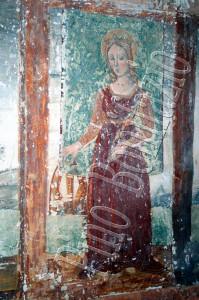 Chiesa di S. Lucia nel borgo  S. Lucia di Isola del Gran Sasso (TE) . S. Caterina di Alessandria affresco fine '400