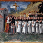 Assergi (AQ), chiesa di S. M. Assunta. La morte di San Franco è accompagnata da prodigi. In processione il corpo viene portato nella chiesa di Assergi