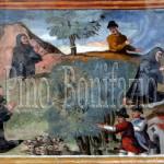 Assergi (AQ), chiesa di S. M. Assunta. San Franco ammansisce sette lupi, salva un uomo dalla caduta di un albero e fa scaturire una polla d'acqua vicino la sua grotta.