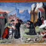 Assergi (AQ), chiesa di S. M. Assunta. San Franco salva un bimbo dalle fauci di  un lupo, diversi pellegrini da una slavina e condivide la grotta con un'orsa