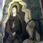 Subiaco, affresco nel Sacro Speco. Santa Chelidonia nella grotta.
